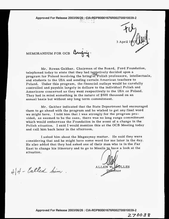 The link between CIA and Ford Foundation and Magsaysay Award is yet again reinforced by a secret (declassified) document. The document clearly shows that how so called intellectuals, professors and students of target countries are financially enticed by the Ford Foundation on behalf of CIA to avail education facilities in the US clearly with the purpose of subversion.